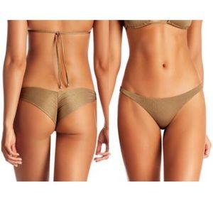 Vitamin A Samba Ruched Back Bikini Bottom Bronze
